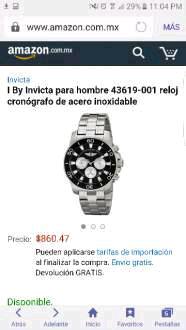 Amazon: Reloj I by INVICTA para hombre 43619-001 a $860