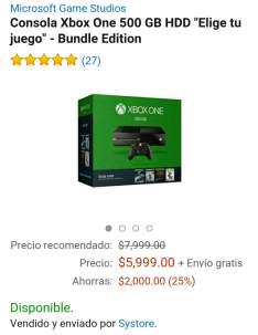 Amazon: Xbox One con juego a elegir a $5,999