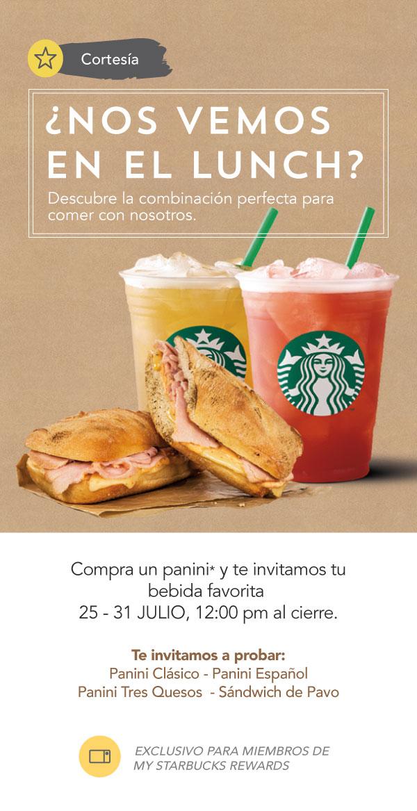 Starbucks: Compra un Panini y te invitamos tu bebida favorita del 25 al 31 de Julio solo para miembros.