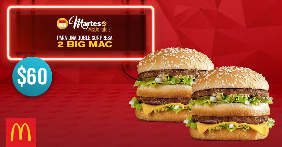 Martes de McDonald's: 2 Big Mac por $60 y 6 Hot Cakes por $30