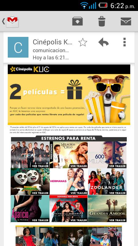 Cinépolis Klic: Renta dos películas y llevate gratis la tercer renta
