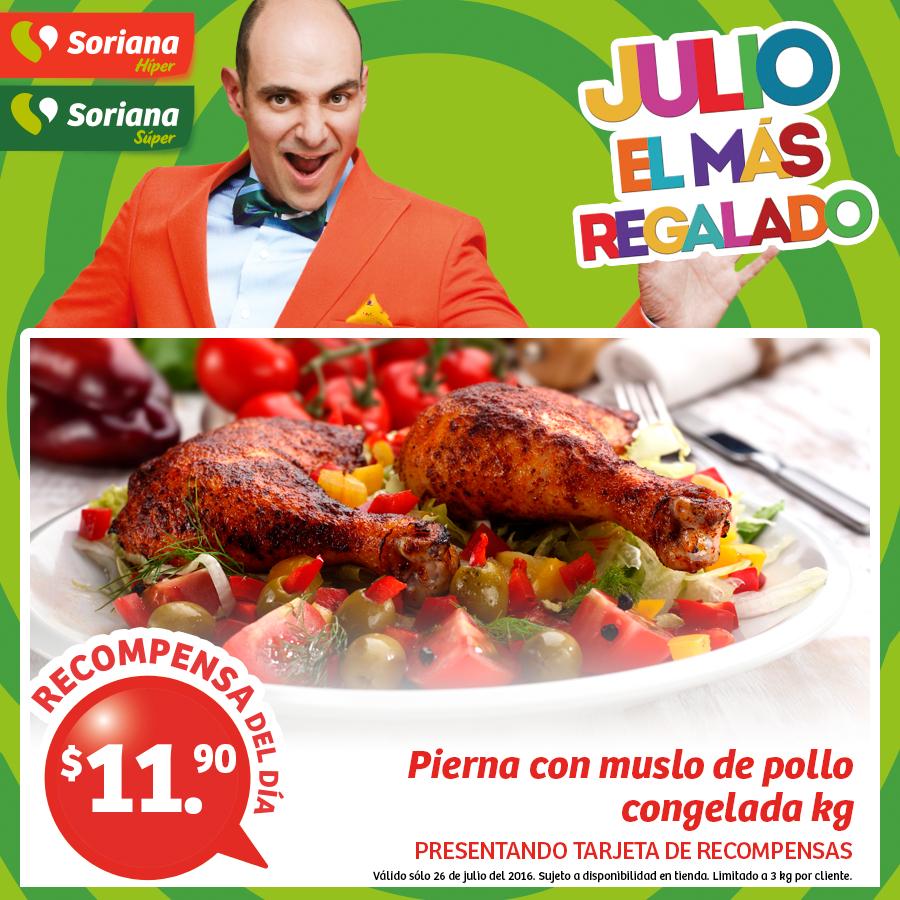 Soriana Híper y Súper (Recompensa Martes 26 Julio) Pierna con muslo de pollo congelada a $11.90 kg.