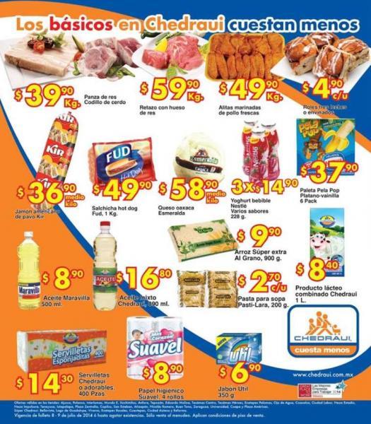 Ofertas de frutas y verduras en Chedraui julio 8 y 9 (editado con folleto)