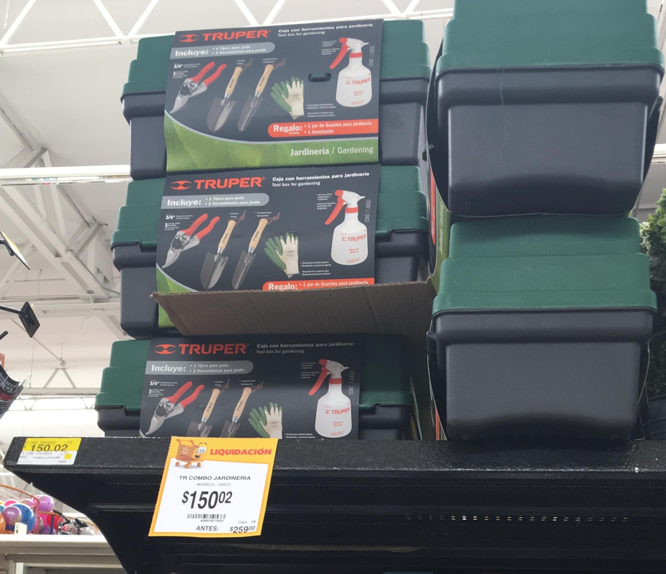 Walmart Tasqueña: caja con herramientas para jardinería marca TRUPER