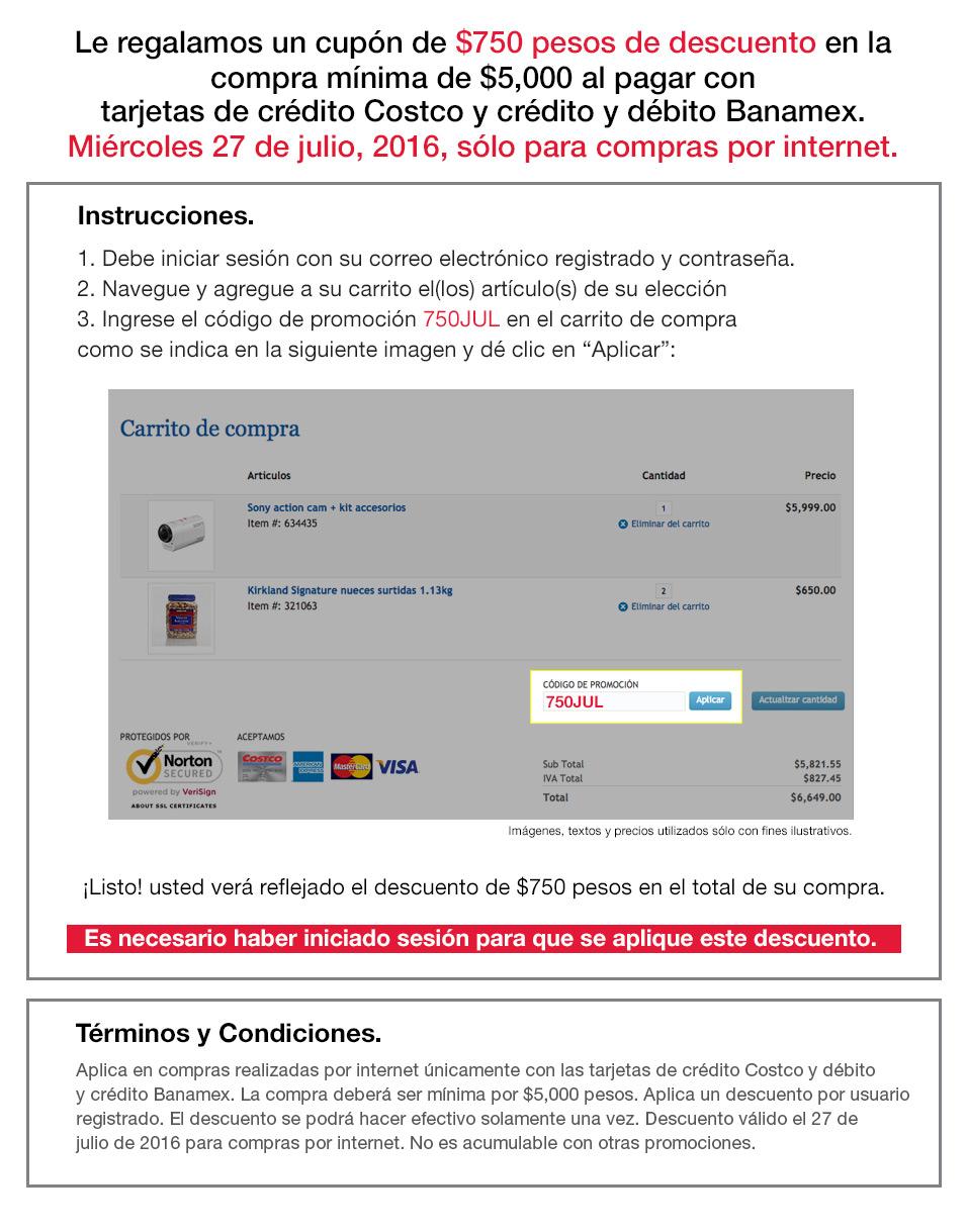 Costco en línea: cupón de $750 con tarjetas de crédito y débito Banamex, compra mínima $5,000