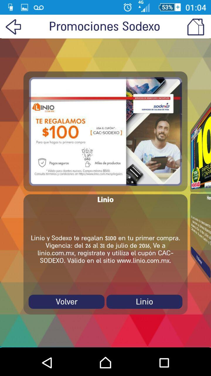 Linio: Cupón de $100 pesos (CAC-SODEXO)