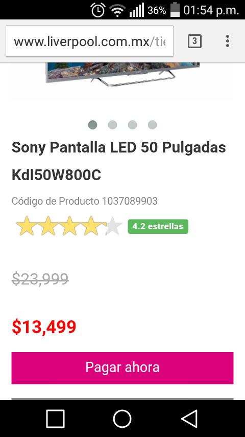 Liverpool: Sony Pantalla LED 50 Pulgadas Kdl50W800C