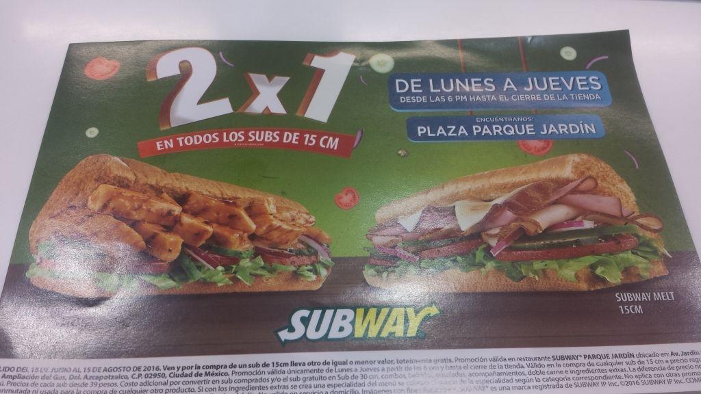 Subway parque jardín CDMX: 2x1 en todos los subs de 15cm