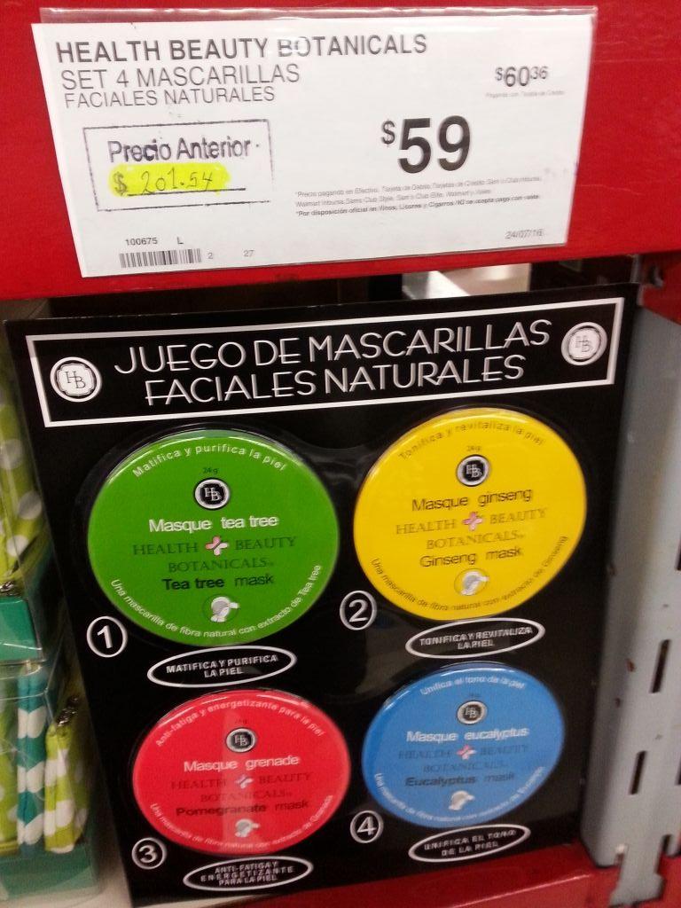 Sam's Club 68 Culiacán Sinaloa: Set de mascarillas faciales naturales HB de $201.54 a $59