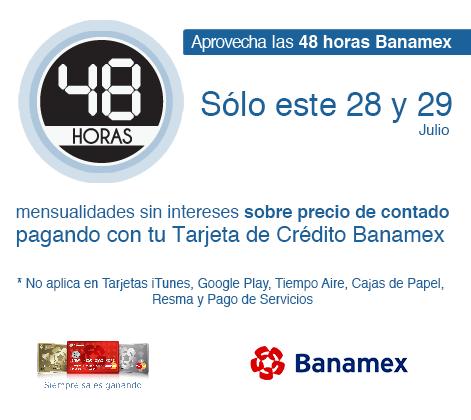 Office Max: 48 Horas Banamex 3, 6, 9, 12 o 18 MSI a precios de contado