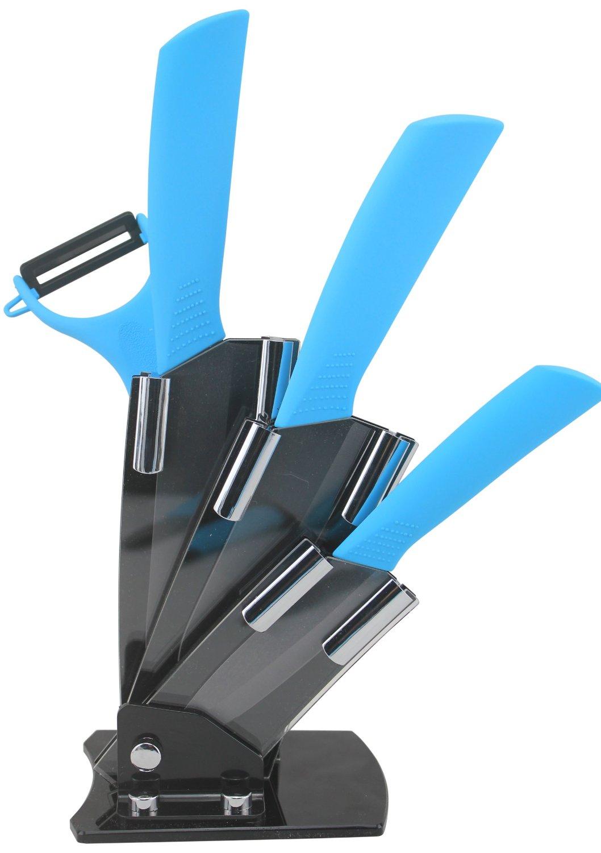 Amazon: Set de 3 cuchillos de cerámica + pelador y base a $190