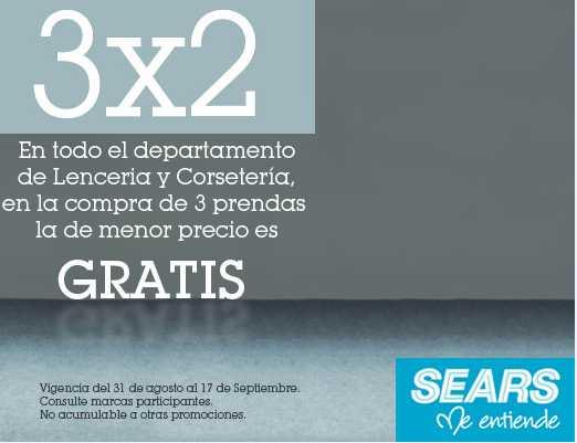 Sears: 3x2 en todo el departamento de lencería y corsetería