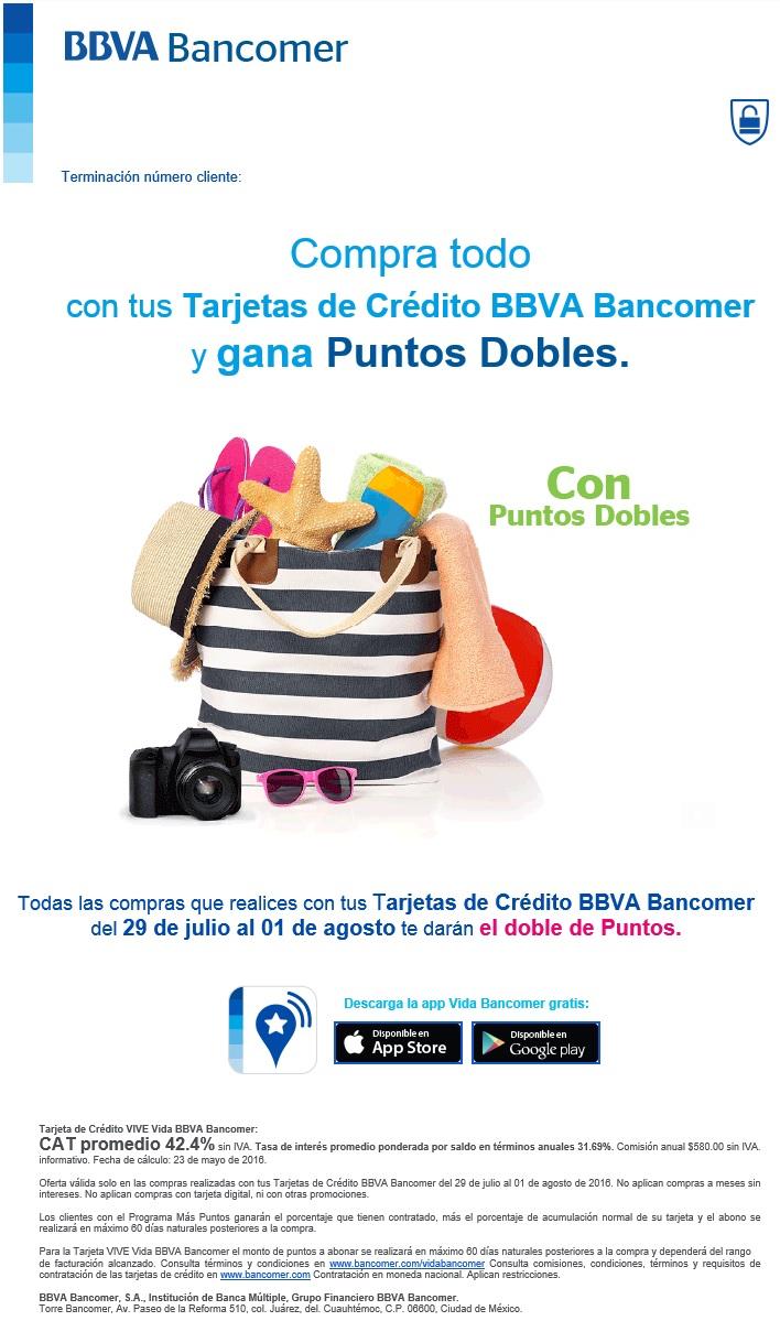 Bancomer: Puntos dobles del 29 de julio al 1 de agosto