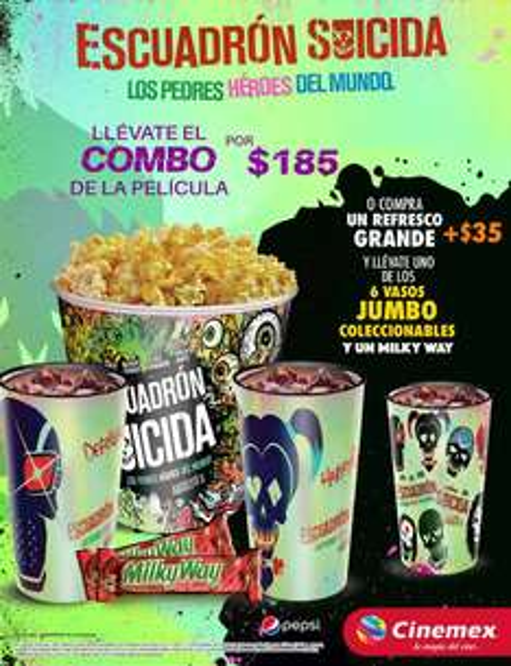 CINEMEX: Combo Suicide Squad por solo $185