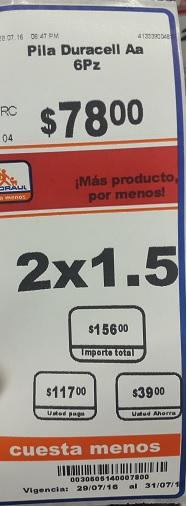 Chedraui Coapa: 2 x 1 1/2 en pilas Duracell, Energizer y Eveready