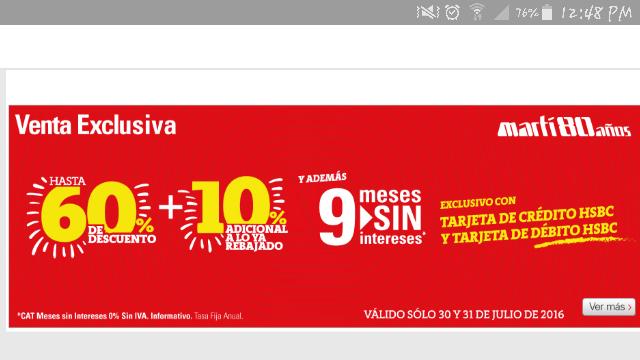 Venta Exclusiva en tiendas Martí: hasta 60% + 10% Adicional con HSBC