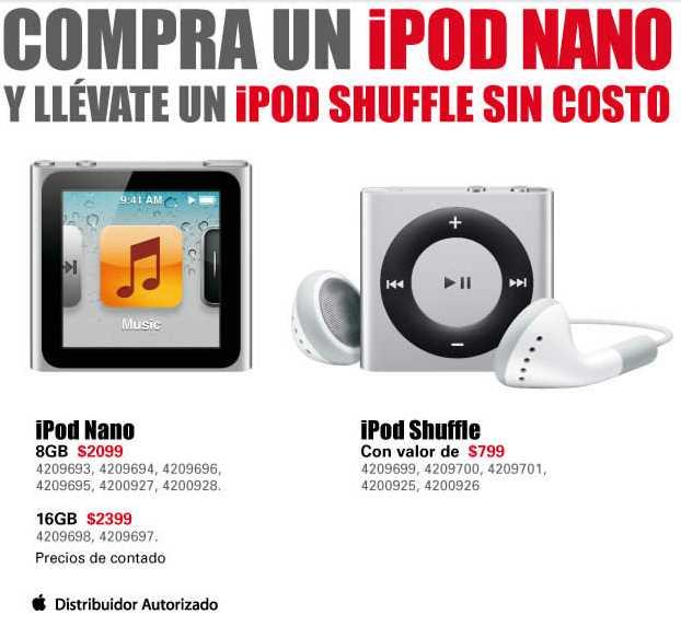RadioShack: iPod Shuffle gratis comprando iPod Nano, hasta 15 meses sin intereses y más