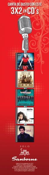Sanborns: 3x2 en CDs de música