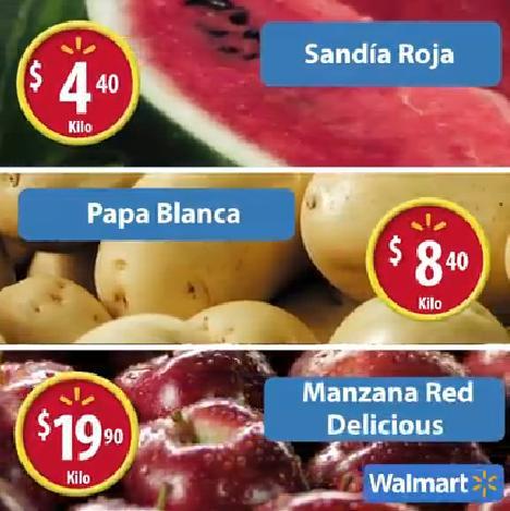 Walmart: Martes de Frescura 02 Agosto: Sandía $4.40, Papa  $8.40 y Manzana $19.90 kg.