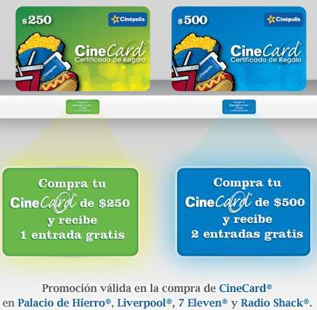 Boletos gratis para Cinépolis comprando CineCard en tiendas participantes