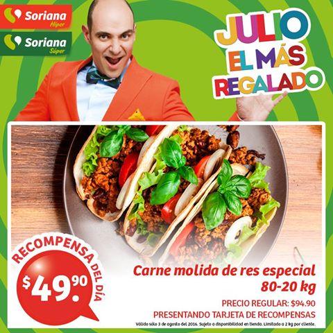 Soriana Híper y Súper: Recompensas 03 Agosto: Carne para Molida Especial 80-20 $49.90 kg.