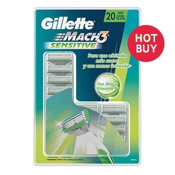Costco en Línea: Gillette cartuchos Mach3 Sensitive 20 piezas