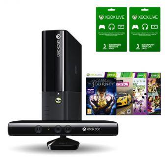 Linio: Xbox 360+ Kinect+ 2 membresias de gold 3 meses+ 4 juegos descargables+ Disco duro de 500 gb.