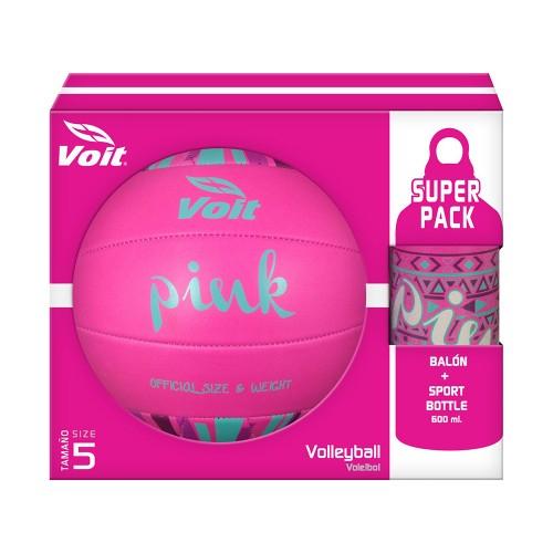Chedraui Toluca: Balon Voley Voit No.5 Pink Fluo Y Sport Bottle a  $59.90