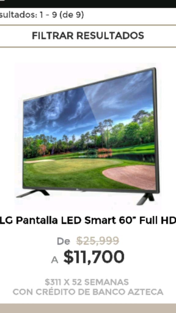 "Elektra en línea: Pantalla  LG LED Smart 60"" Full HD a $11,700"