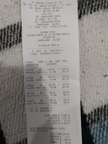 Aldo Conti Guadalajara Centro: 70% de descuento en toda la tienda