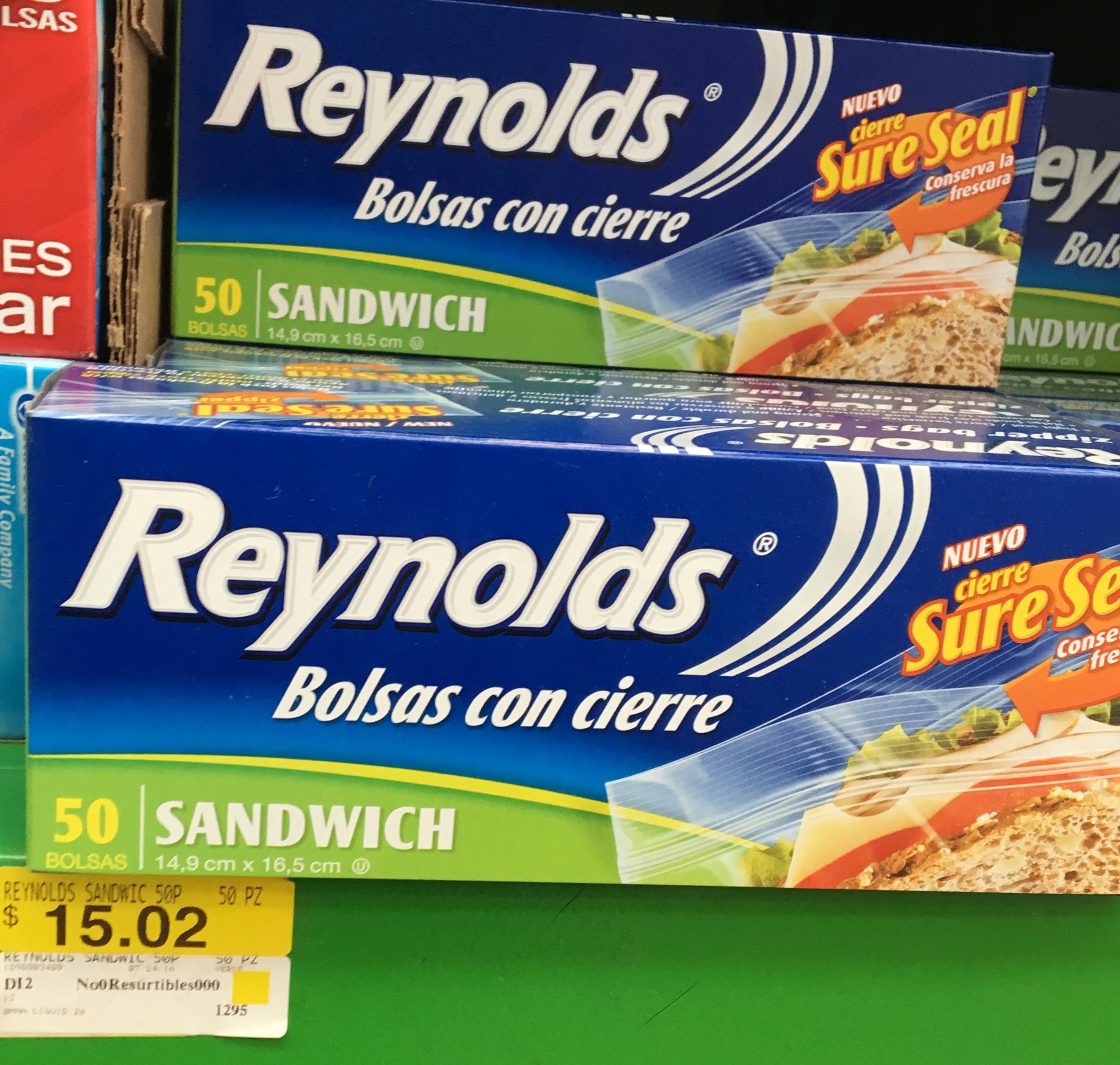 Bodega Aurrerá (CDMX): 50 bolsas con cierre para sandwich marca Reynolds