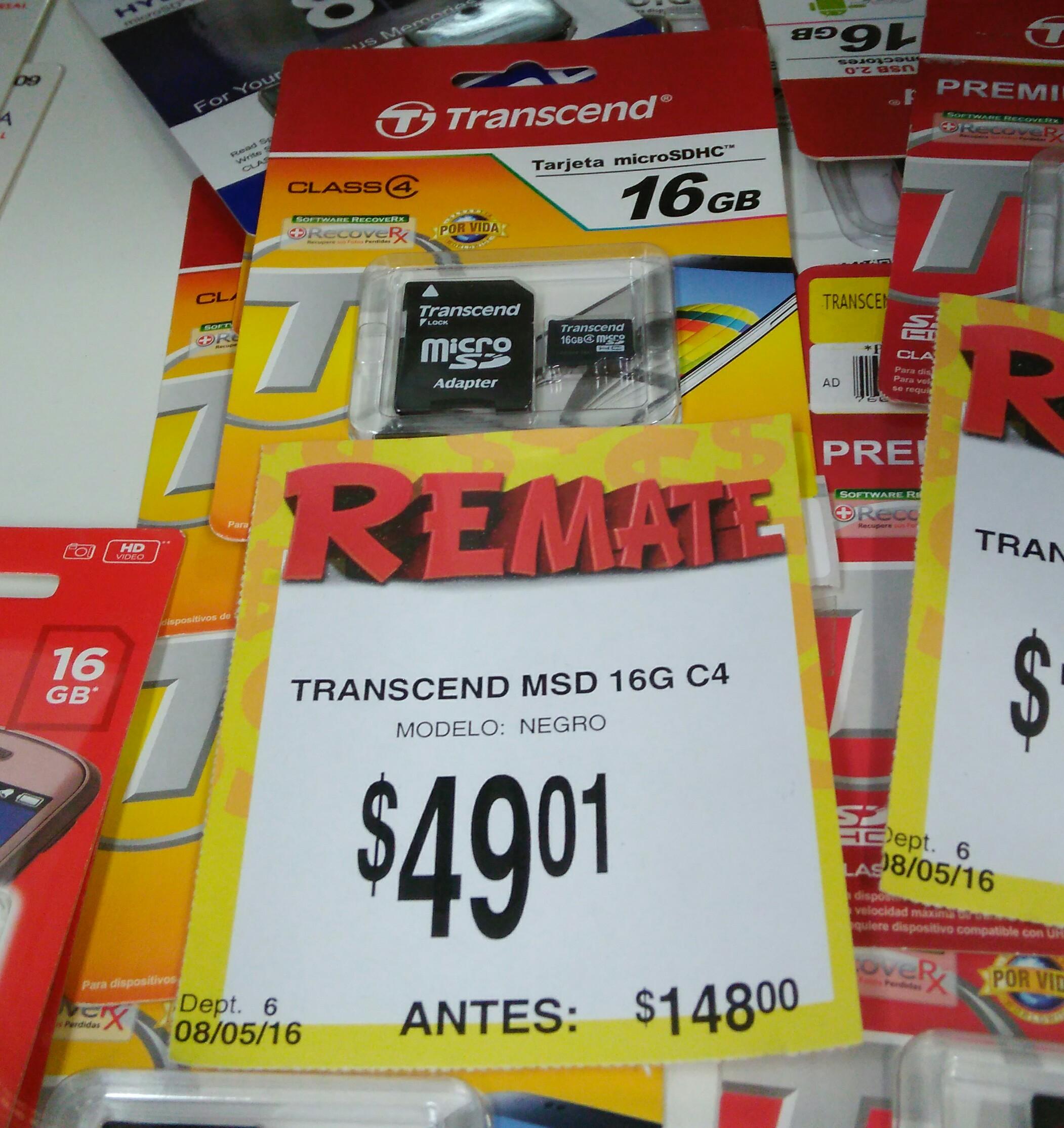 Bodega Aurrerá: Tarjeta de memoria micro SD Transcend de 16G a $49.01