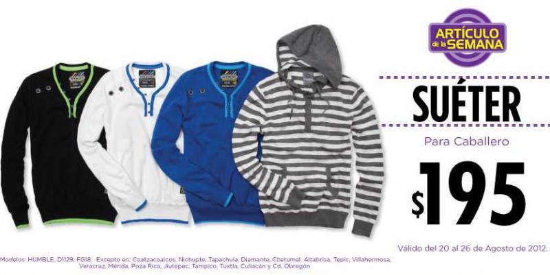 Artículo de la semana en Suburbia: bermudas $135 y suéter para caballero $195