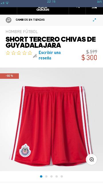 Adidas en línea: short adidas de Chivas del Guadajara con 50% a $300
