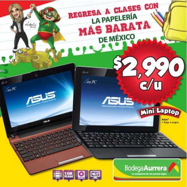 Folleto Aurrera Bodegá: laptop Samsung $4,990, artículos de papelería desde $9.90 y más