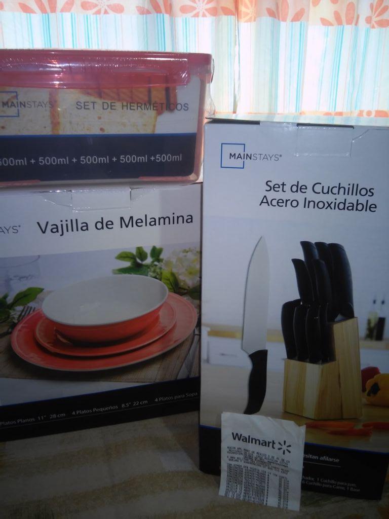 Walmart Miramontes: Set De Cuchillos Acero Inoxidable 12 piezas a $35.01 y Vajilla de Melanina a $45.01