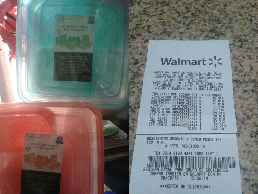 Walmart Lago de Guadalupe: Tennis para niña y Set de contenedores