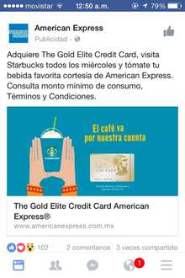 Starbucks: bebida gratis los miércoles pagando con American Express un consumo mínimo de $115