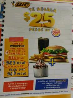 Burger King: $25 de descuento llevando 2 empaques de Bic