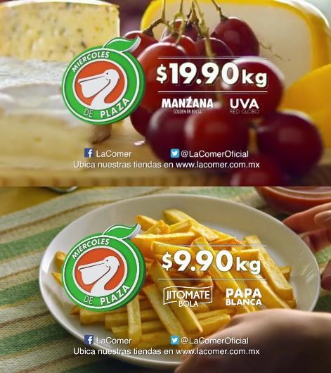 La Comer y Fresko: Miércoles de Plaza 10 Agosto: Jitomate Bola y Papa Blanca $9.90 kg. Manzana Golden en Bolsa y Uva Red Globo $19.90 kg.