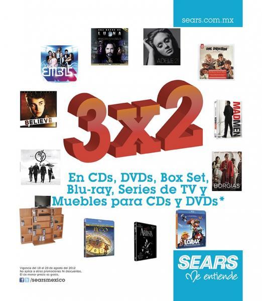 Sears: 3x2 en CDs, DVDs, muebles para DVDs y más