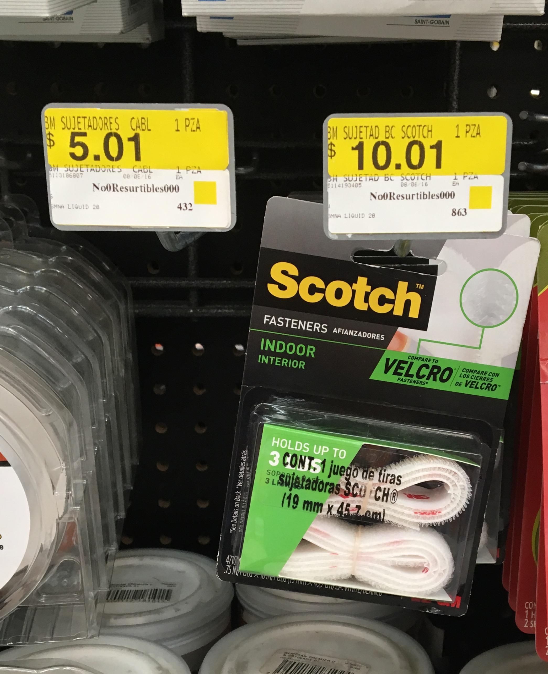 Walmart Perisur (CDMX): juego de tiras sujetadoras de velcro marca Scotch a $10.01