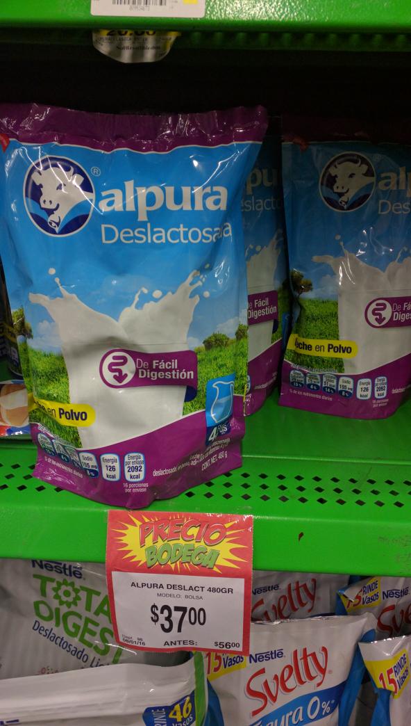 Bodega Aurrerá: leche alpura deslactosada en polvo en $37 antes $56