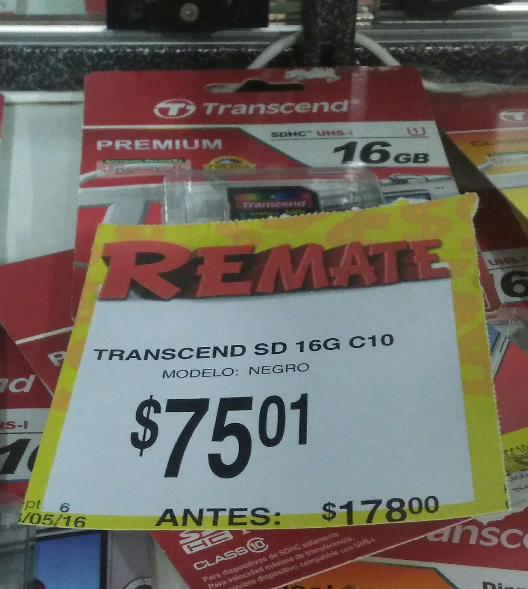 Bodega Aurrerá: Tarjeta de memoria SD, Transcend C10 de 16G a $75.01