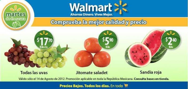 Martes de frescura en Walmart agosto 4: sandía $2.40, uvas $17,70 y más