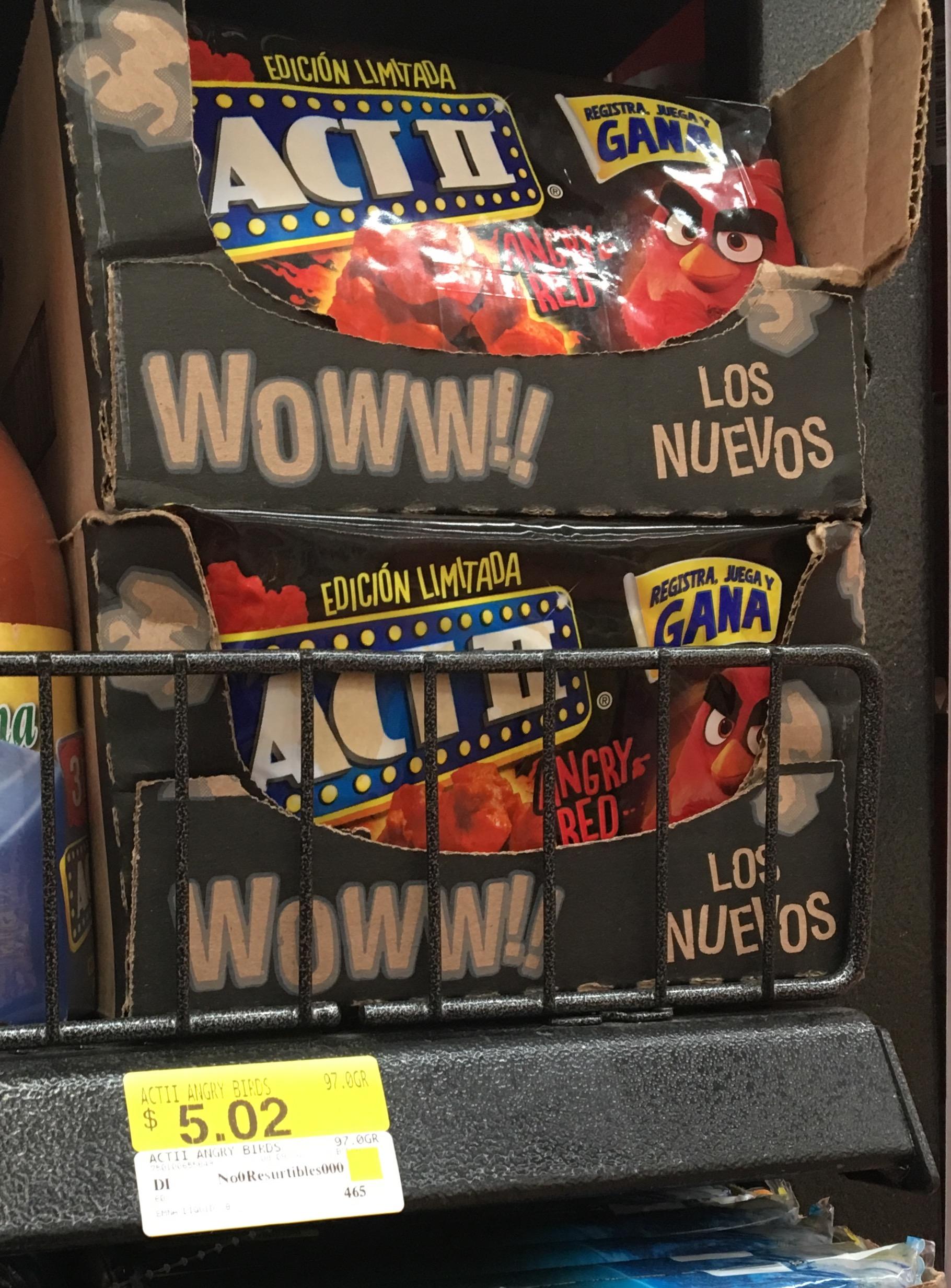 Walmart Miramontes (CDMX): palomitas Angry Birds Act II a $5.02