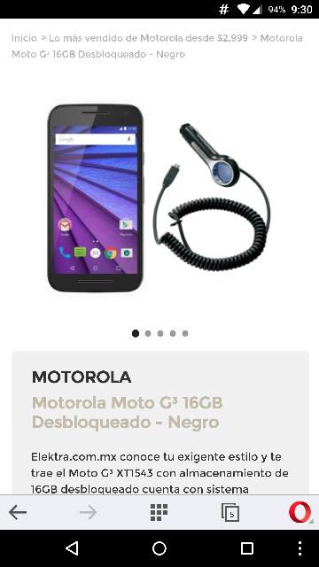 Elektra en línea: Moto G3 16Gb XT1543 libre