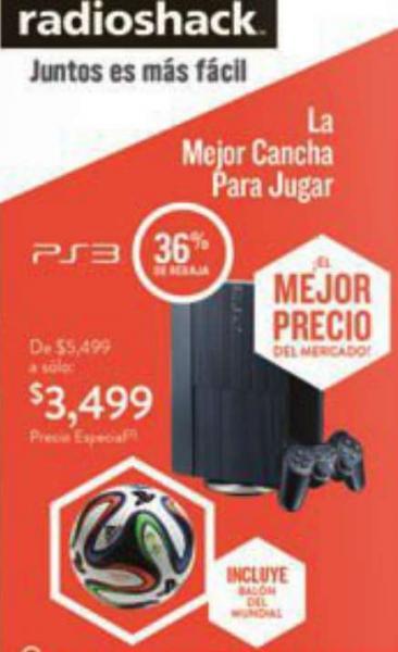PlayStation 3 con Gran Turismo 6 y GOW Ascension $3,999 o PS3 con balón del Mundial $3,499