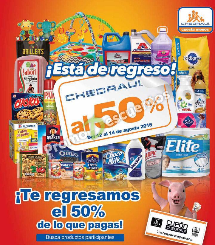 (extendido) Chedraui al 50: folleto de artículos con 50% de bonificación del 12 al 14 de agosto
