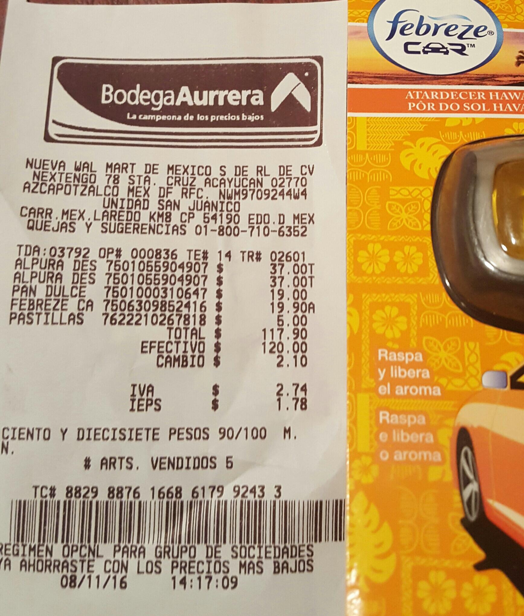 Bodega Aurrerá San Juanico: desodorante febreze para carro a $19.90